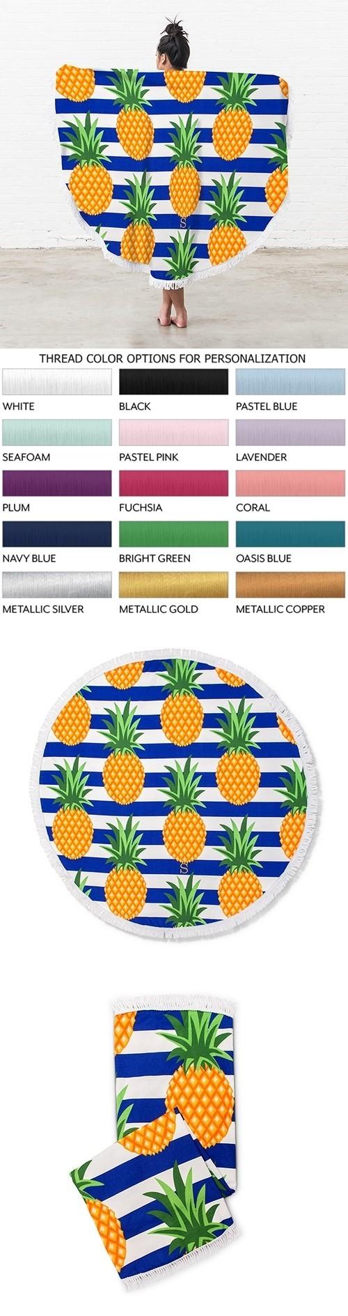 Weddingstar Personalizable Pineapple Motif Round Beach Towel