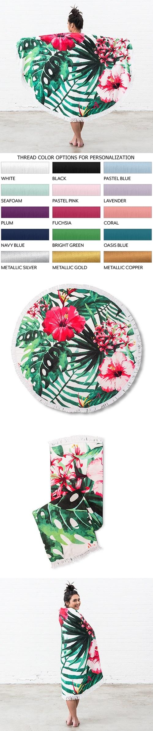 Weddingstar Personalizable Tropical Hibiscus Motif Round Beach Towel