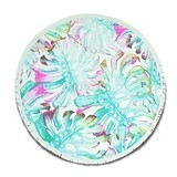 Weddingstar Personalizable Tropical Palm Leaves Round Beach Towel