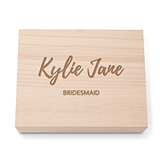 Bold Script Etching Personalized Wooden Keepsake Box with Hinged Lid