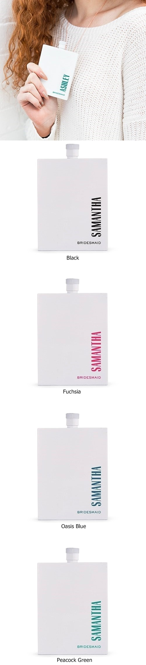 Modern Vertical Text Hip Personalized White Stainless Steel Flask