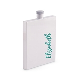 Vertical Calligraphy Text Hip Personalized White Stainless Steel Flask