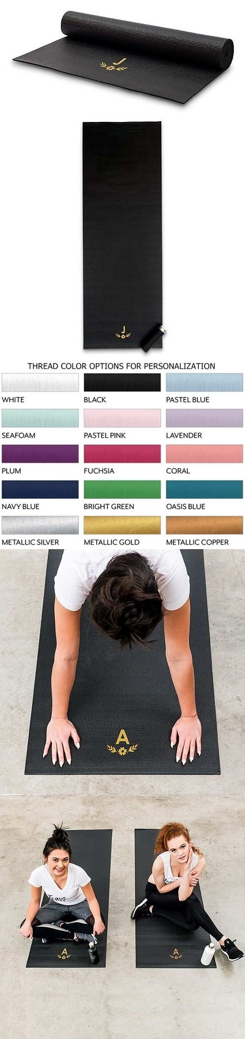 Personalizable Best Custom No-Slip Black Yoga Mat - Floral Monogram