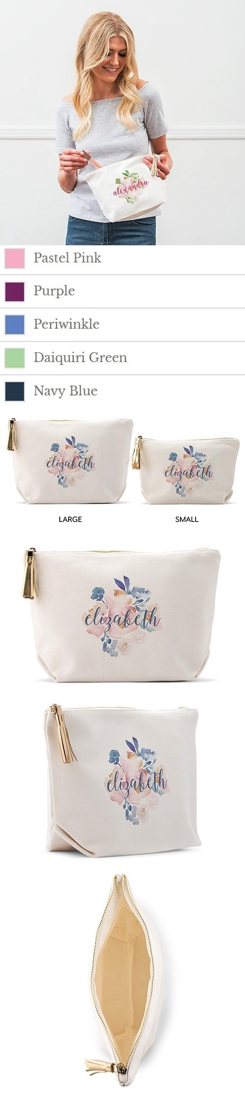 Weddingstar Personalized White Canvas Makeup Bag - Floral Garden Party