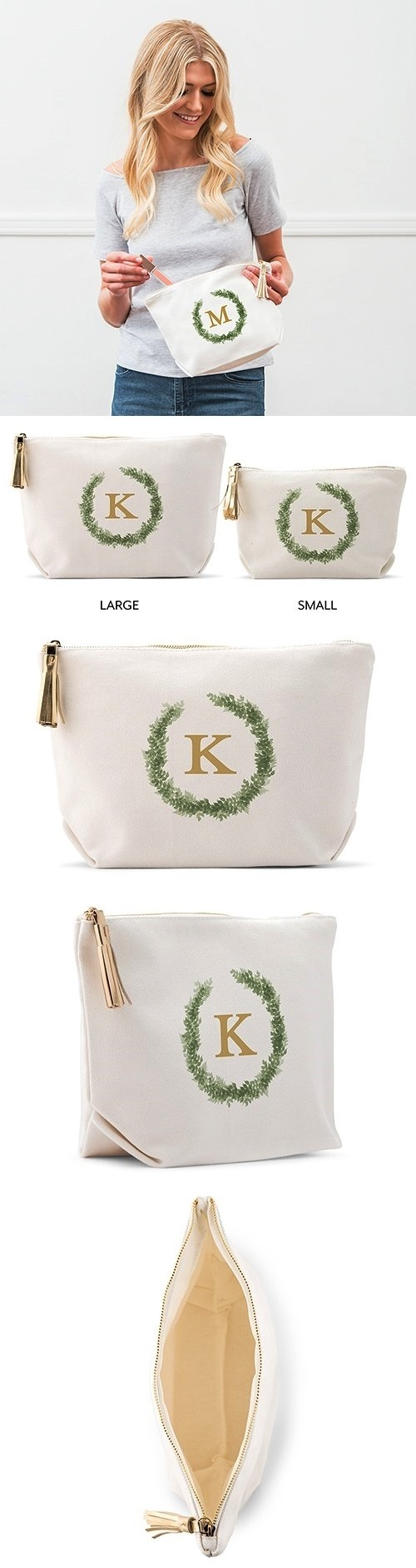 Weddingstar Love Wreath Monogram Personalized White Canvas Makeup Bag