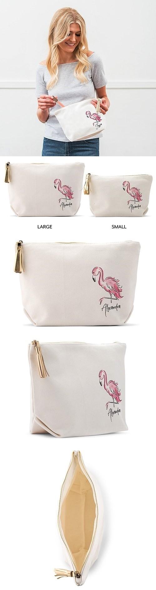 Weddingstar Personalized White Canvas Makeup Bag - Flamingo Design