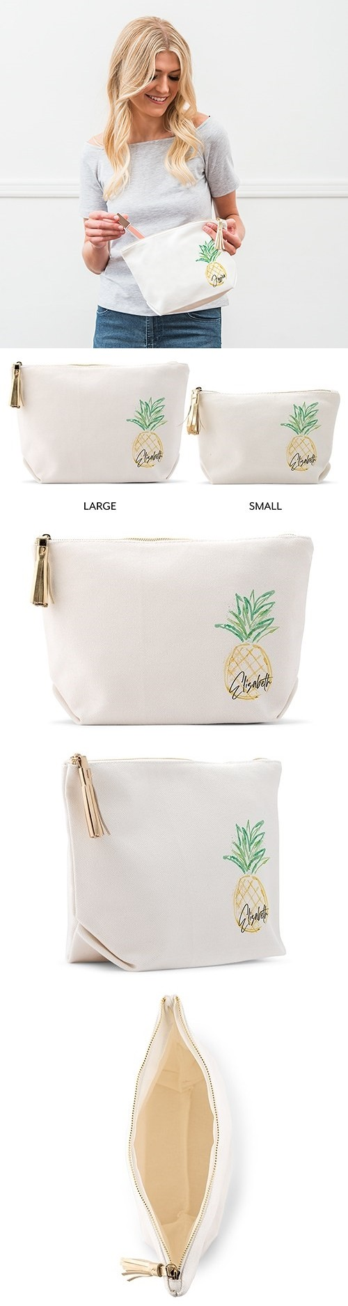 Weddingstar Personalized White Canvas Makeup Bag - Pineapple Design