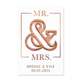 Mr & Mrs Rose Gold Ampersand Bottle Opener with Personalized Backer