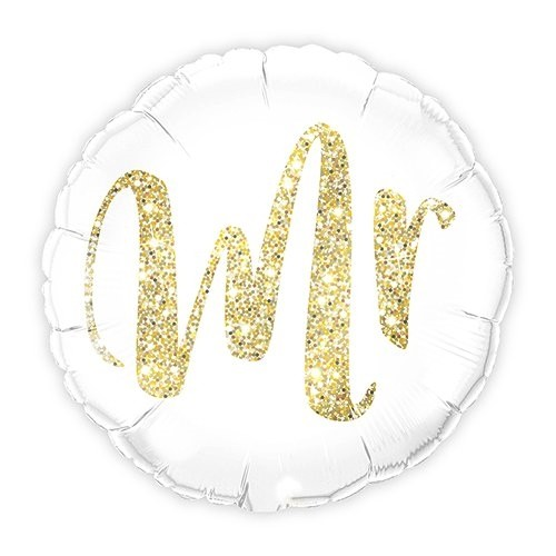 White with Gold Mr. Glitter Mylar Foil Helium Balloon Decoration