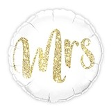 White with Gold Mrs. Glitter Mylar Foil Helium Balloon Decoration