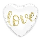 Mylar Foil White and Gold Love Glitter Heart Party Balloon Decoration