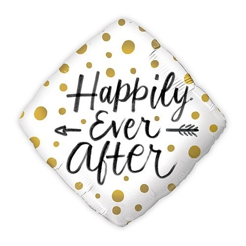 Gold Polka-Dot Happily Ever After Mylar Foil Party Balloon Decoration