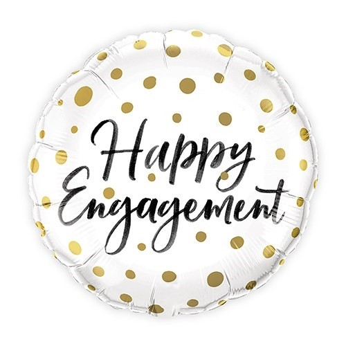 Gold Polka-Dot Happy Engagement Mylar Foil Party Balloon Decoration