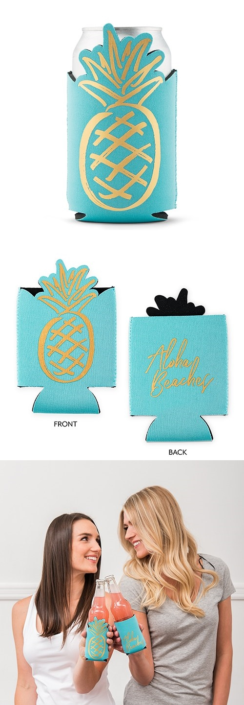 "Pineapple-Shaped ""Aloha Beaches"" Neoprene-Foam Party Koozie"