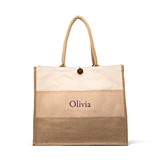 Large Personalizable Reusable Fabric Beach Tote Bag - Burlap Ombre