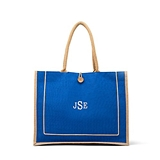 Large Personalizable Reusable Fabric Beach Tote Bag - Blue Burlap