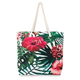 Large Personalized Tropical Hibiscus Motif Canvas Beach Tote Bag