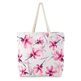 Large Personalized Pink Floral Watercolor Motif Canvas Beach Tote Bag