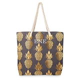 Large Personalized Gold Pineapple Motif Cotton Canvas Beach Tote Bag