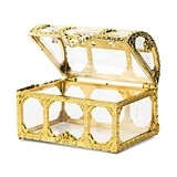 Small Clear Plastic Gold Treasure Chest Favor Containers (Set of 2)
