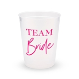 Personalized Frosted Plastic Party Cups - Team Bride Script (Set of 8)