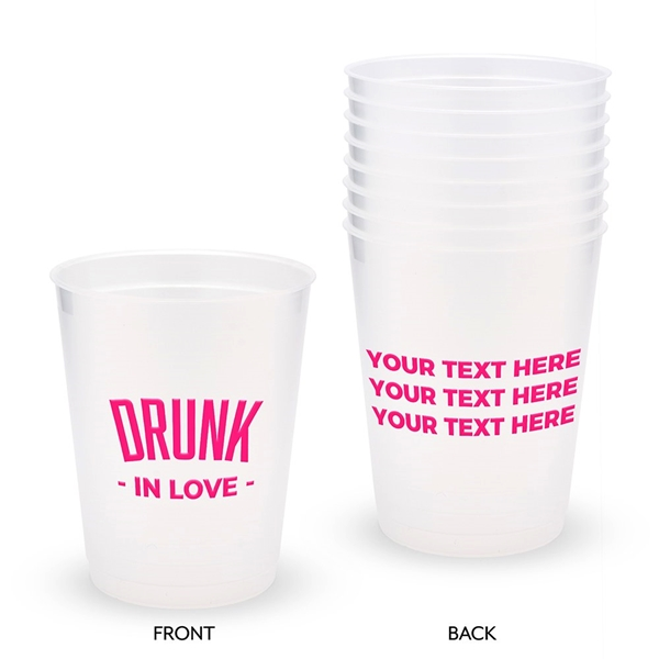Personalized Frosted Plastic Party Cups - Drunk In Love (Set of 8)