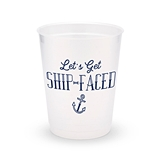 Personalized Frosted Plastic Party Cups - Get Ship-Faced (Set of 8)