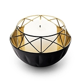 Weddingstar Short Round Geo Black-Metal Candle Holder w/ Gold Interior