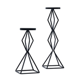Weddingstar Tall Geo Pillar Candle Holders in Black Metal (Set of 2)