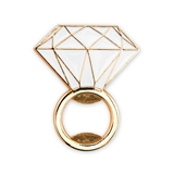 Weddingstar Gold-Metal & White Enamel Inlay Diamond Ring Bottle Opener