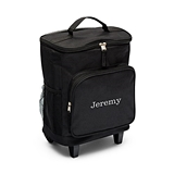 Embroidered Black Rolling Cooler Bag Trolley with Telescopic Handle