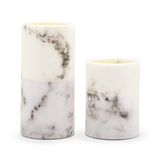 Weddingstar Flameless LED Pillar Candles - White Marble (Set of 2)