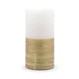 Weddingstar Flameless LED Pillar Candle - White & Gold Wire