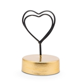 Black-Wire Double Heart Place Card Holders w/ Golden Stands (Set of 6)