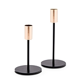 Weddingstar Black & Gold Modern Tiered Taper Candle Holders (Set of 2)