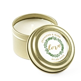 Weddingstar Personalized Gold Candle Tin Wedding Favor - Love Wreath