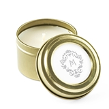Weddingstar Personalized Gold Candle Tin Favor - Filigree Initial