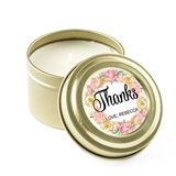Weddingstar Personalized Gold Candle Tin Wedding Favor - Modern Floral