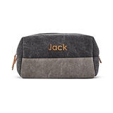 Personalized Men's Travel Toiletry Bag - Black & Gray Canvas