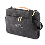 "Personalized 17"" Canvas Laptop Bag with Cross Strap - Black"