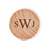 Custom Engraved Wooden Bottle Stopper with Traditional Monogram Design