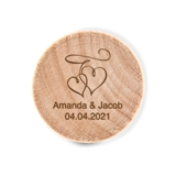 Custom Engraved Wooden Bottle Stopper with Double Hearts Design