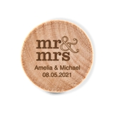 Custom Engraved Wooden Bottle Stopper with Stacked Mr & Mrs Design