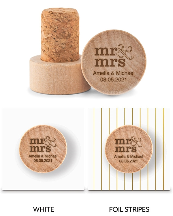 Custom Engraved Wooden Bottle Stopper with Stacked Mr & Mrs Design