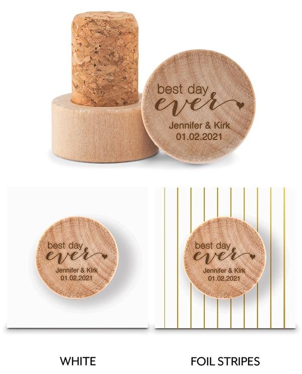 Custom Engraved Wooden Bottle Stopper with Best Day Ever Design