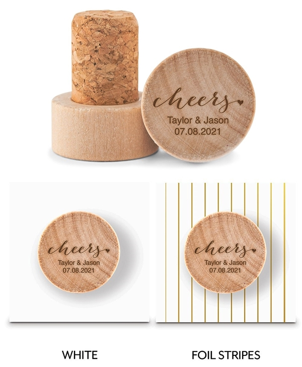 Custom Engraved Wooden Bottle Stopper with Script Cheers Design