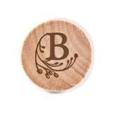 Custom Engraved Wooden Bottle Stopper with Modern Fairy Tale Monogram