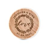 Custom Engraved Wooden Bottle Stopper with Love Wreath Design