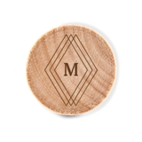 Custom Engraved Wooden Bottle Stopper with Diamond Emblem Monogram