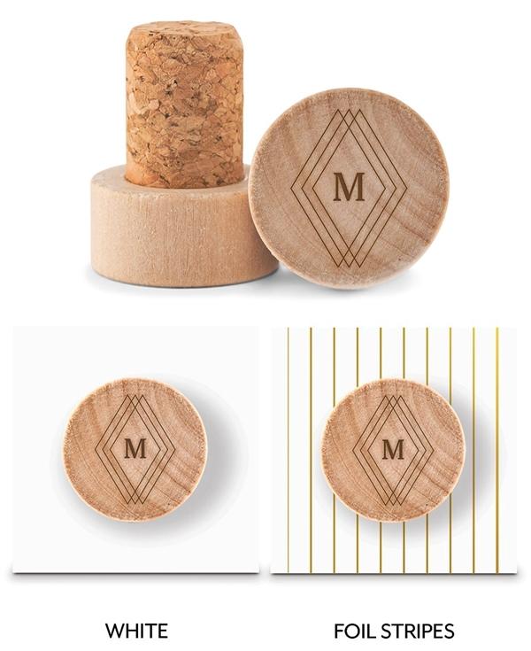 Custom Engraved Wooden Bottle Stopper with Diamond Emblem Monogram